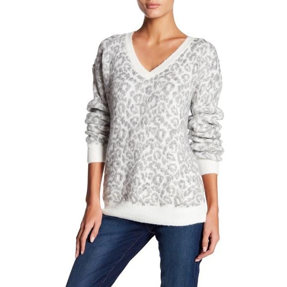 Matty M Sweaters - Marty M | Cheetah Print V-Neck Sweater